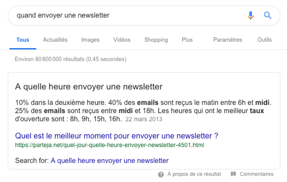 aeo recherche google answer box
