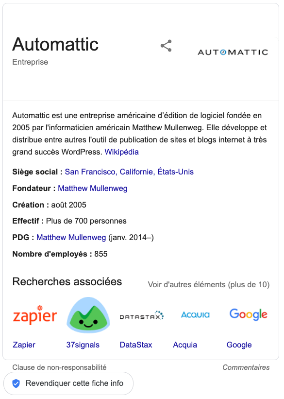 résultats google logo knowledge panel