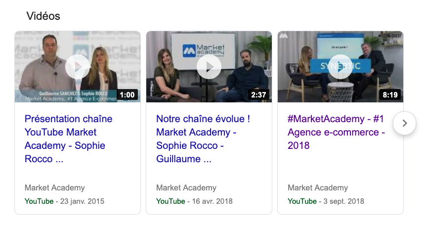 résultats google carrousel videos youtube