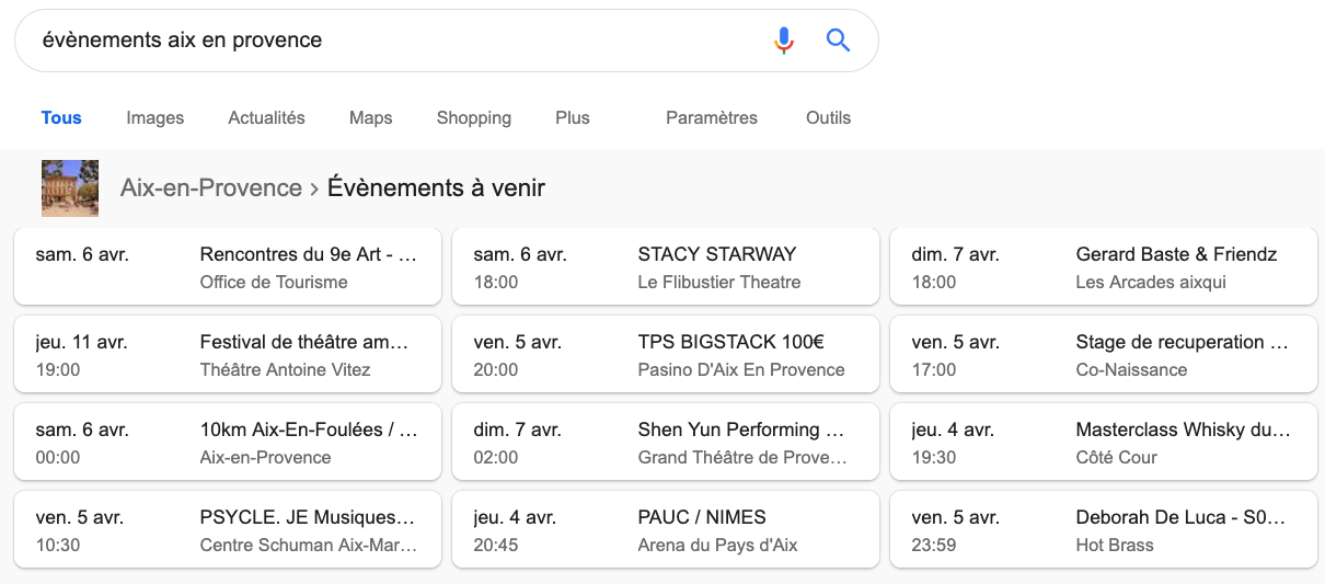 résultats google extraits evenements events snippets