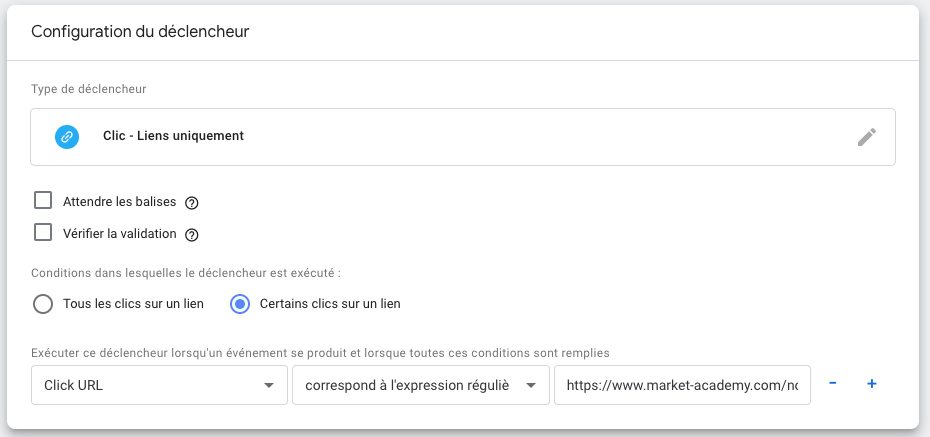 déclencheur google tag manager clic