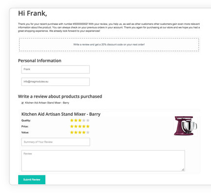 email relance automatique-avis-product-review-reminder extension magento