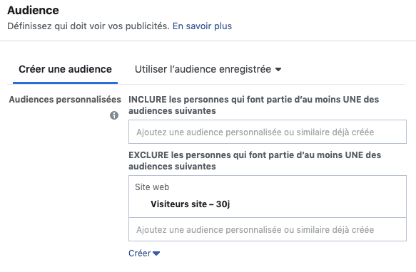 facebook ads : exclure audience de retargeting