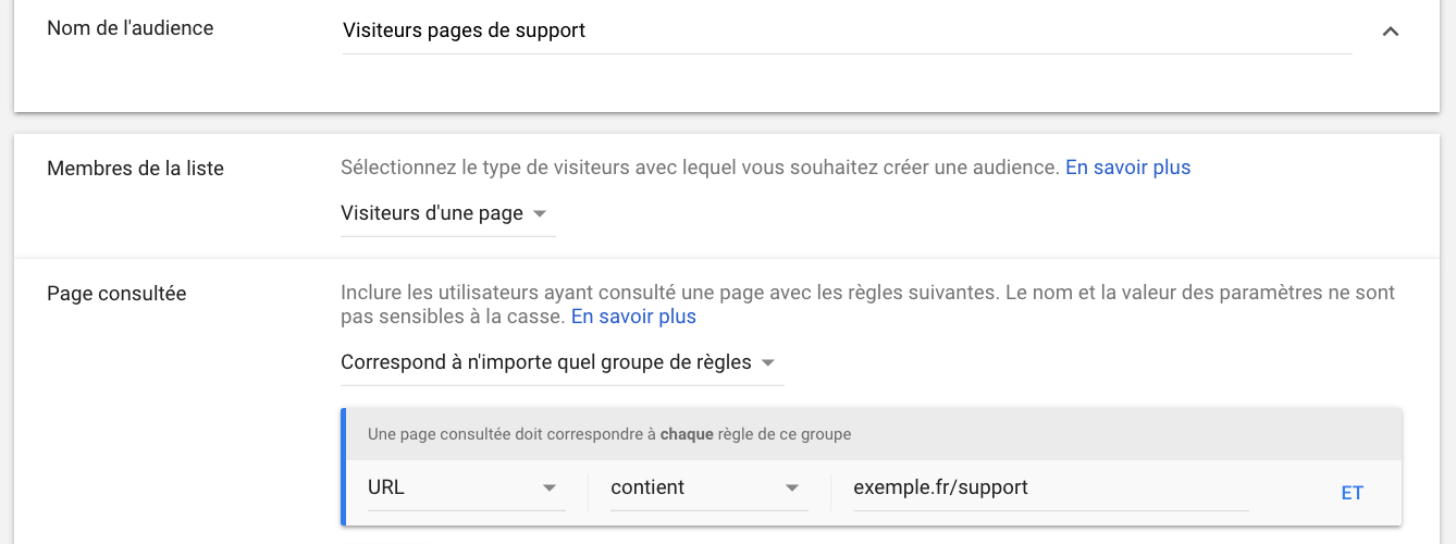 google ads audience visiteurs de page de support
