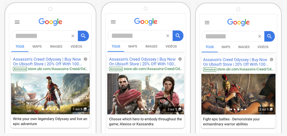 Google Gallery Ads pour mobile