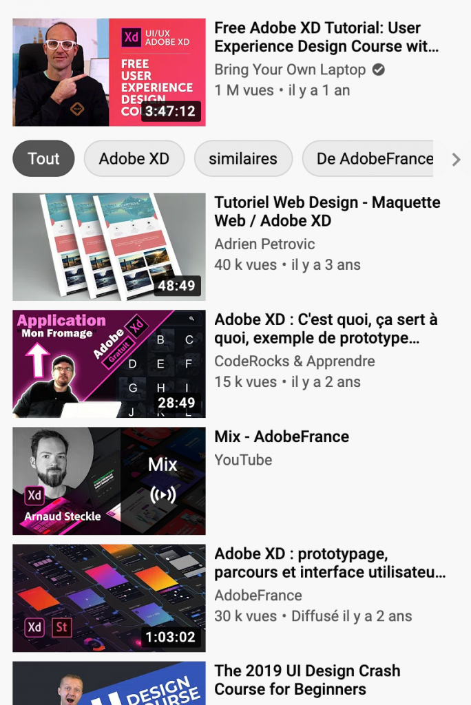 suggestions youtube catégories filtres